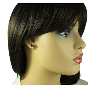 Model with Red Rose Bud Earring Gift Set