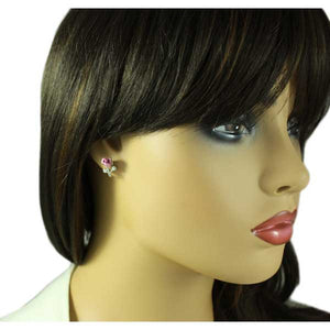 Model with Lavender Rose Bud with Silver Stem and Crystal Pierced Earring - Lilylin Designs