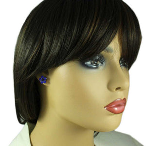 Model with Cobalt Blue Crystal Daisy with Black Center Pierced Earring