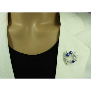 Cobalt Blue Crystal Daisies and Leaves Pin - PRL123BL