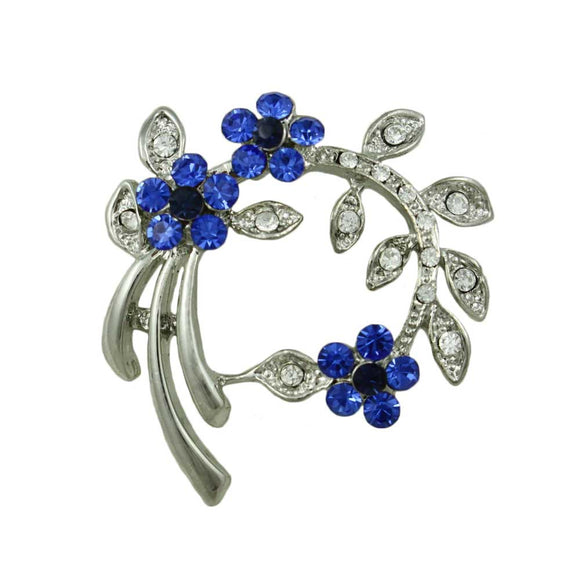 Cobalt Blue Crystal Daisies and Leaves Pin - Lilylin Designs
