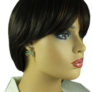 Model with Green and Brown Crystal Palm Tree Dangling Pierced Earring - Lilylin Designs