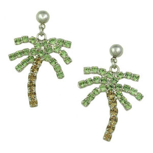 Green and Brown Crystal Palm Tree Dangling Pierced Earring - Lilylin Designs