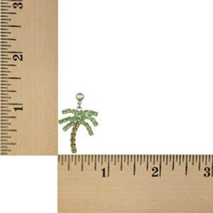 Green and Brown Crystal Palm Tree Dangling Pierced Earring (sized) - Lilylin Designs