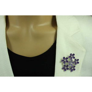 Model with Purple Enamel and Crystal Ring of Daisies Flower Brooch Pin - Lilylin Designs