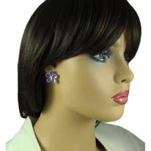 Model with Purple Enamel Daisy with Crystal Center Pierced Earring
