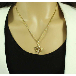 Chain with Gold Maple Leaf Pendant - PRL341N