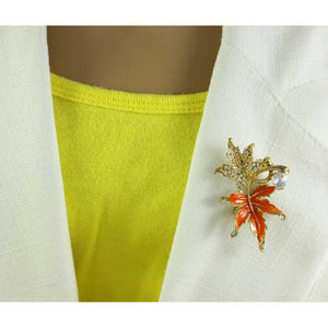 Model with Crystal and Orange Enamel Maple Leaves Brooch Pin - Lilylin Designs