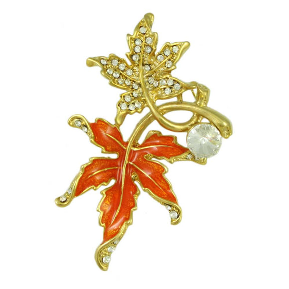 Crystal and Orange Enamel Maple Leaves Brooch Pin - Lilylin Designs