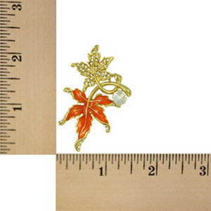 Crystal and Orange Enamel Maple Leaves Brooch Pin (sized) - Lilylin Designs
