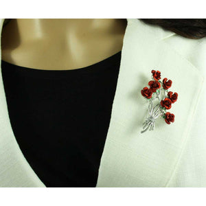 Model with Bunch of Red Roses Brooch Pin Gift Set (pin) - Lilylin Designs