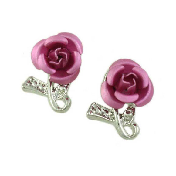 Pink Aluminum Rose with Silver Textured Loop Pierced Earring - Lilylin Designs