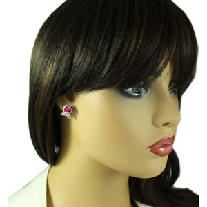 Model with Pink Aluminum Rose with Silver Textured Loop Pierced Earring - Lilylin Designs