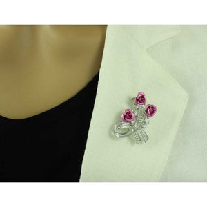 Model with Pink Roses with Silver Crystal Leaves Flower Brooch Pin - Lilylin Designs