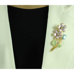 Model with Lavender Enamel and Crystal Daisies and Tulip Flower Brooch Pin - Lilylin Designs