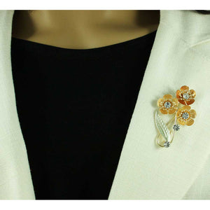 Model with 3 Orange Enamel and Crystal Flowers Brooch Pin - Lilylin Designs