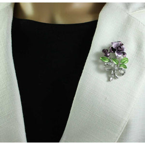 Model with Dark and Light Purple Enamel Flowers with Crystals Brooch Pin - Lilylin Designs