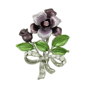 Dark and Light Purple Enamel Flowers with Crystals Brooch Pin - Lilylin Designs