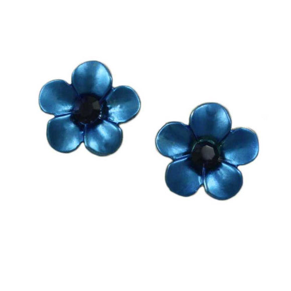Dark Blue Enamel Daisy with Navy Blue Crystal Pierced Earring