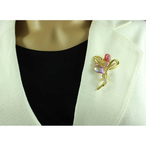 Sparkle in Pink Flower Brooch Pin and Teardrop Earring Gift Set - PRL851BS