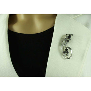 Black Diamond Crystal Brooch Pin and Black Daisy Earring Gift Set - PRL903BS