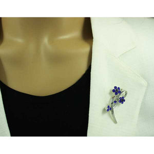 Model with Silver-tone Loop with Cobalt Blue Crystal Daisies Flower Brooch Pin - Lilylin Designs