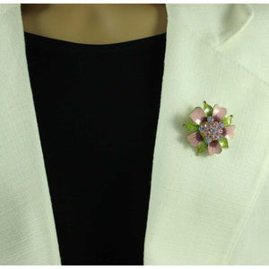 Model with Pink and Green Enamel Flower with Crystals Brooch Pin - Lilylin Designs
