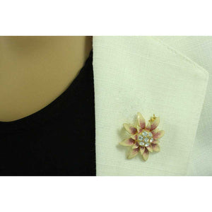 Peaches and Cream Enamel Flower Brooch Pin and Earring Gift Set - PRL910BS