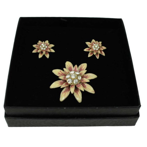 Peach Enamel and Crystal Flower Pin with Earring Set - Lilylin Designs