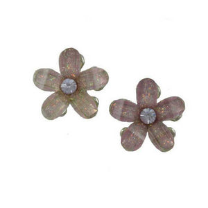Purple Glass Daisy Flower with Purple Crystal Center Pierced Earring