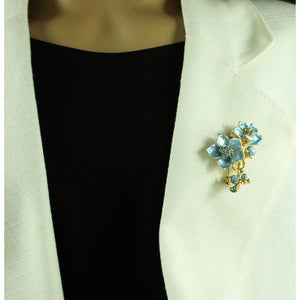 Model with Powder Blue Enamel with Blue Crystals Flowers Brooch Pin - Lilylin Designs
