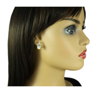 Model with Peach Pearl with Clear Crystal Leaves Pierced Earring - Lilylin Designs