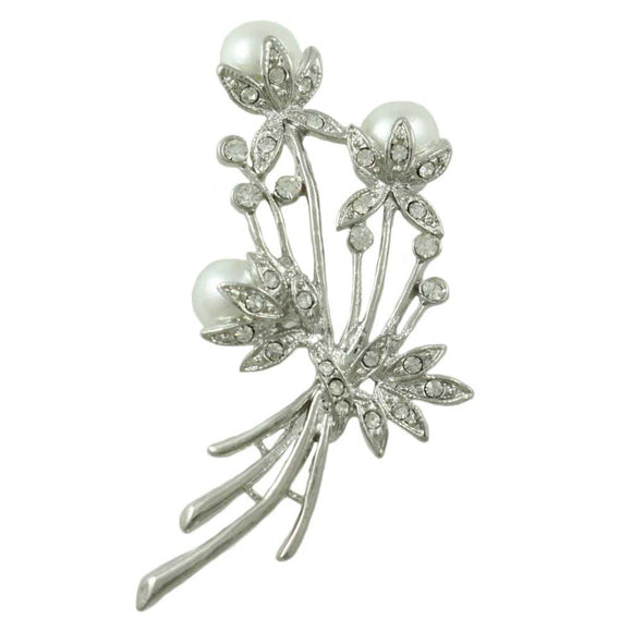 3 White Pearls and Clear Crystals Flower Buds Brooch Pin - Lilylin Designs