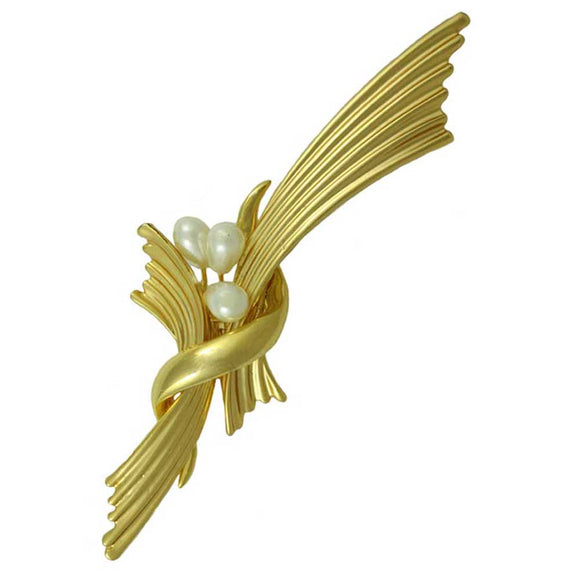 Gold Accordion Pleats with 3 White Pearls Brooch Pin - Lilylin Designs