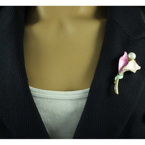 Model with Pink Enamel and Crystal Petals with White Pearl Flower Brooch Pin - Lilylin Designs