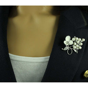 Model with White Enamel Flower on Branch of White Pearls Brooch Pin - Lilylin Designs
