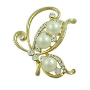 Gold-tone White Pearl and Crystals Profile Butterfly Brooch Pin - Lilylin Designs
