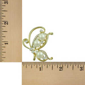 Gold-tone White Pearl and Crystals Profile Butterfly Brooch Pin (sized) - Lilylin Designs