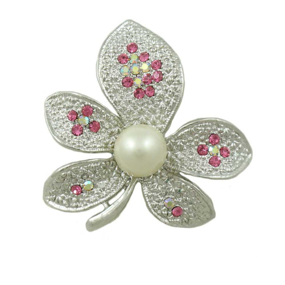 Silver-tone Leaf with Pink Crystals and White Faux Pearl Brooch Pin - Lilylin Designs