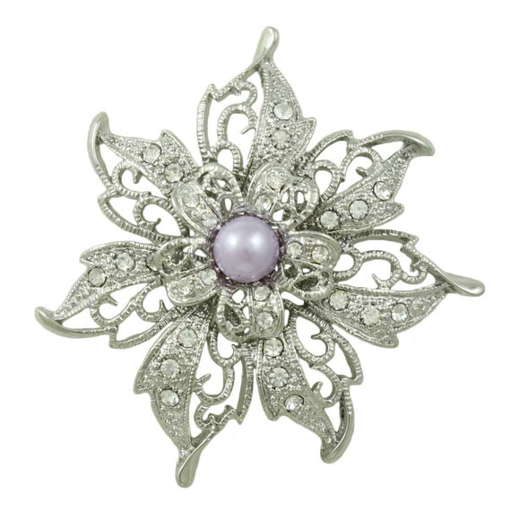 Filigree Flower with Light Purple Faux Pearl Brooch Pin - Lilylin Designs