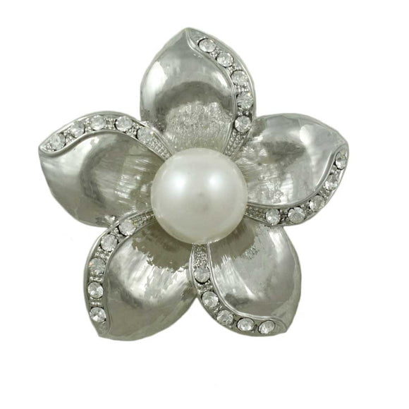 Silver-tone and Crystal Flower with Large White Pearl Brooch Pin - Lilylin Designs