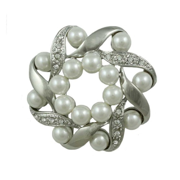 Silver-tone and Crystal Wreath with White Pearls Brooch Pin - Lilylin Designs