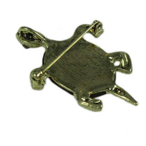 Antique Gold Brown Glass Turtle Brooch Pin/Pendant-Back - Lilylin Designs
