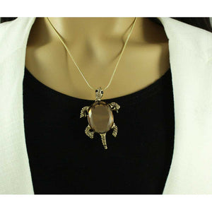 Model with Antique Gold Brown Glass Turtle Brooch Pendant - Lilylin Designs