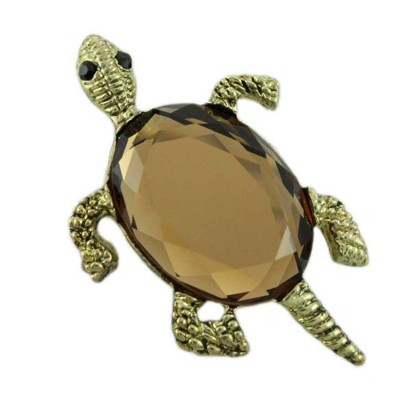 Antique Gold Brown Glass Turtle Brooch Pin/Pendant - Lilylin Designs
