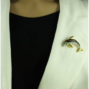 Model with Black Crystal Dolphin with Green Eye Brooch Pin - Lilylin Designs