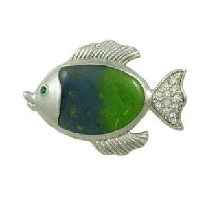 Silver-tone Fish with Blue/Green Acrylic with Crystal Brooch Pin - Lilylin Designs