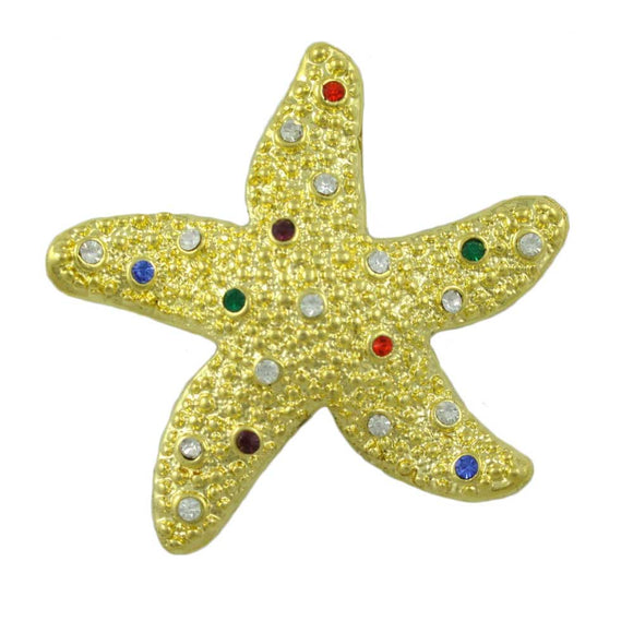 Gold-plated Starfish with Clear and Colored Crystals Brooch Pin - Lilylin Designs