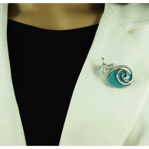 Model with Crystal Snail with Large Turquoise Blue Stone Brooch Pin - Lilylin Designs