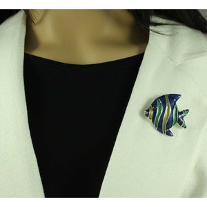 Model with Dark Blue, Yellow, and Green Enamel Angel Fish Brooch Pin - Lilylin Designs